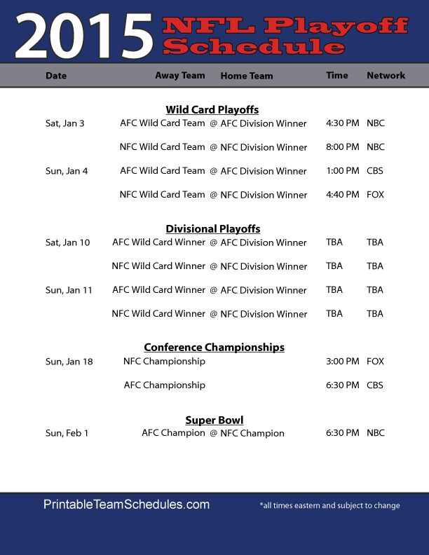 Nfl playoff dates in Australia