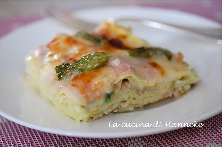 Lasagne agli asparagi, prosciutto e ricotta