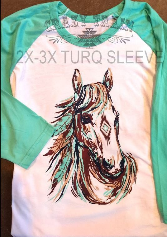 Super fun baseball t by Crazy Train. Long shot horse shirt. Runs true to size 2X 18-20 3X 22-24 Classy Cowgirl Co- Gypsy Cowgirl ,Fun & Funky Western cloth