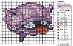 Birdie Stitching Pokemon Pattern - 90 Shellder