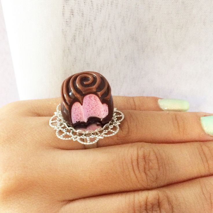 Bitten chocolate with strawberry filling ring #SweetsnPearls #bite #chocolate