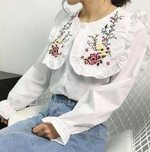 Refrescante con volantes Retro Lolita muñeca camisa floral bordado collar de peter pan blusa blanca mujer(China (Mainland))