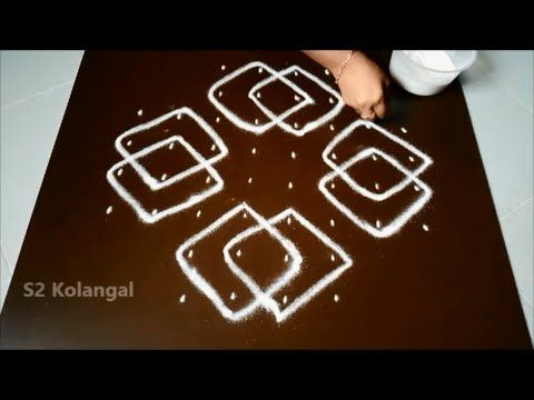 Easy rangoli Designs with 8 to 3 Dots - kolam designs with dots - chukkala muggulu - YouTube