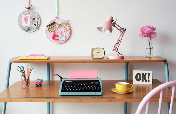 Pastel home office Styling by Charlotte Love | Photography by Jonathan Gooch: Desks Area, Pastel, Idea, Offices, Colors, Work Spaces, Workspaces, Embroidery Hoop, Desks Spaces
