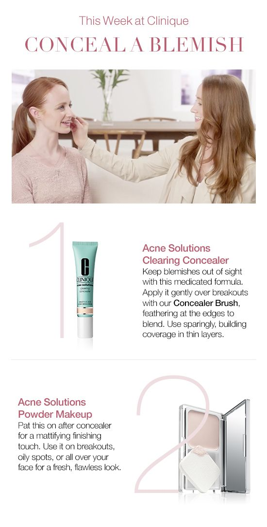 How to conceal a blemish and cover up acne. Use Clinique Acne Solutions Clearing Concealer. Apply this medicated formula gently over breakouts, feathering at the edges to blend. Use sparingly, building coverage in thin layers. Pat on Clinique Acne Solutions Powder Makeup after concealer for a mattifying finishing touch. Use it on breakouts, oily spots, or all over your face for a fresh, flawless finish.