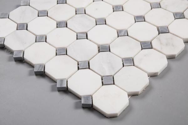 Carrara Carrera Bardiglio Grey Marble Mosaic Octagon