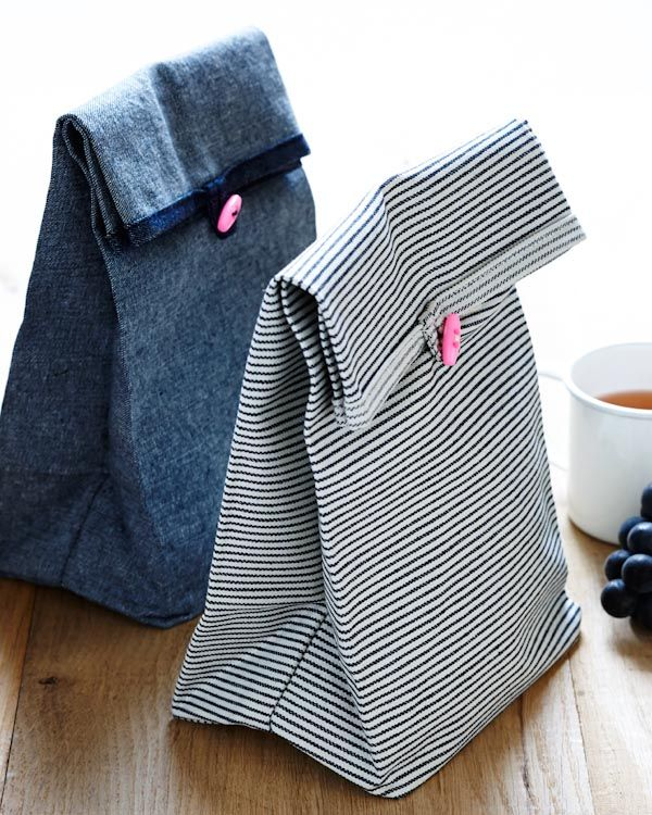 Credit: The Purl Bee. Lunch bags made with their mid-weight fabrics. Good for a sandwich and a snack. Wonderful fabric and very clear tutorial for sewing the bags.