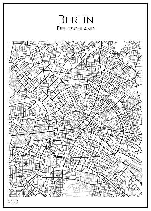 Berlin. Tyskland. Karta. City print. Print. Affisch. Tavla. Tryck.