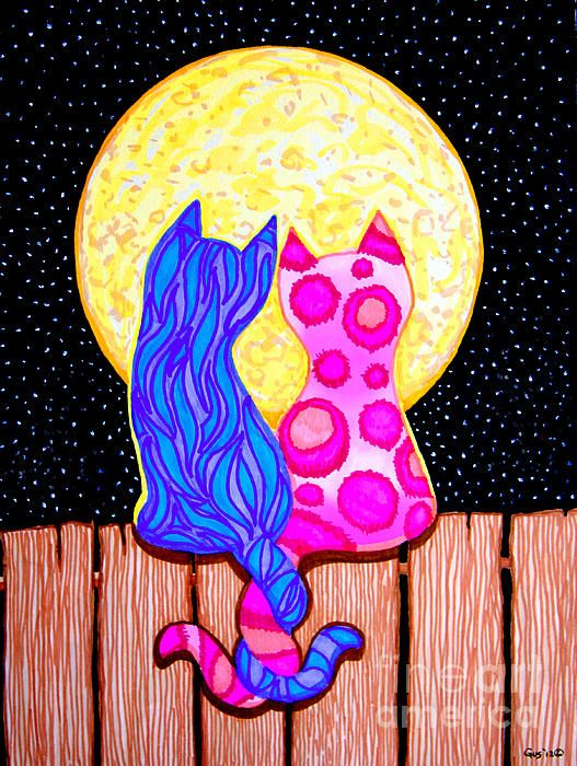 Cat Couple Full Moon - Nick Gustafson