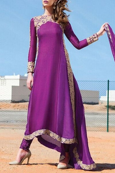 Long Sleeve High Low Purple Dress