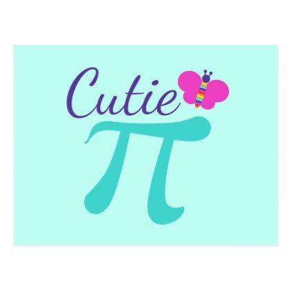 Cutie Pi Symbol Math Pun Postcard - postcard post card postcards unique diy cyo customize personalize