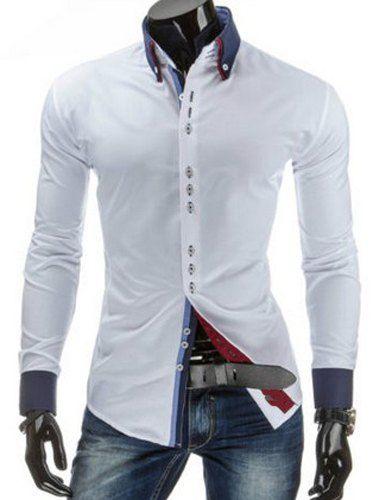 Button-Down suturas Color Design Bloque de empalme manga larga con estilo adelgaza la camisa de cuello clásico para hombres