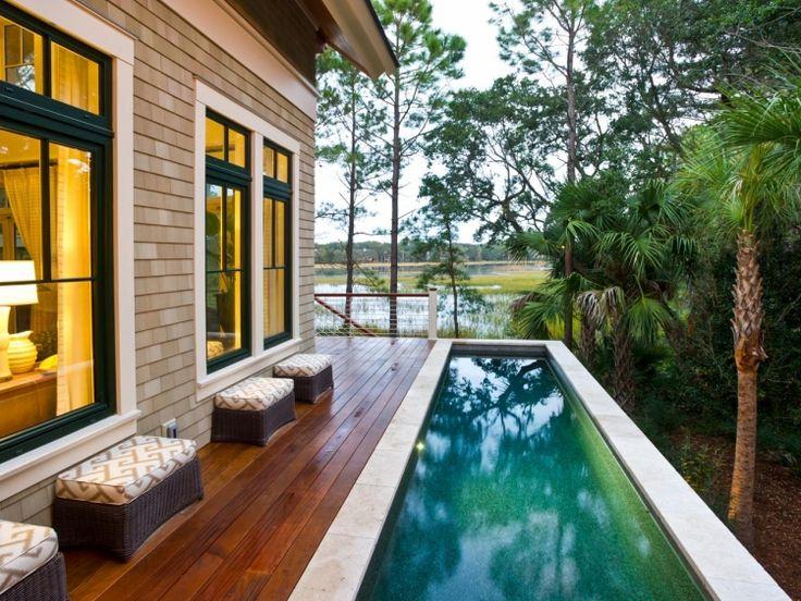 Fabulous poolumrandung holz rechteckig exotisch terrasse palmen garten