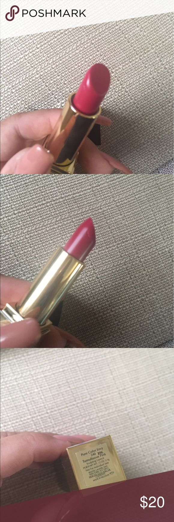 Estée Lauder Pure Color Envy Estée Lauder Pure Color Envy in tumultuous pink, item is brand new but when I opened you can see the tiny crease on the side, came that way but item was not used or swatched. Will ship same day payment is made. Estee Lauder Makeup Lipstick