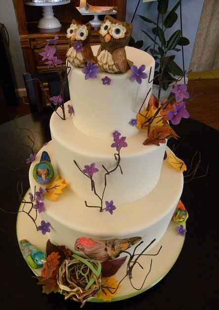 Tier Circular White Wedding Cake W/ Birds Flowers Owl Pair Toppers cakepins.com