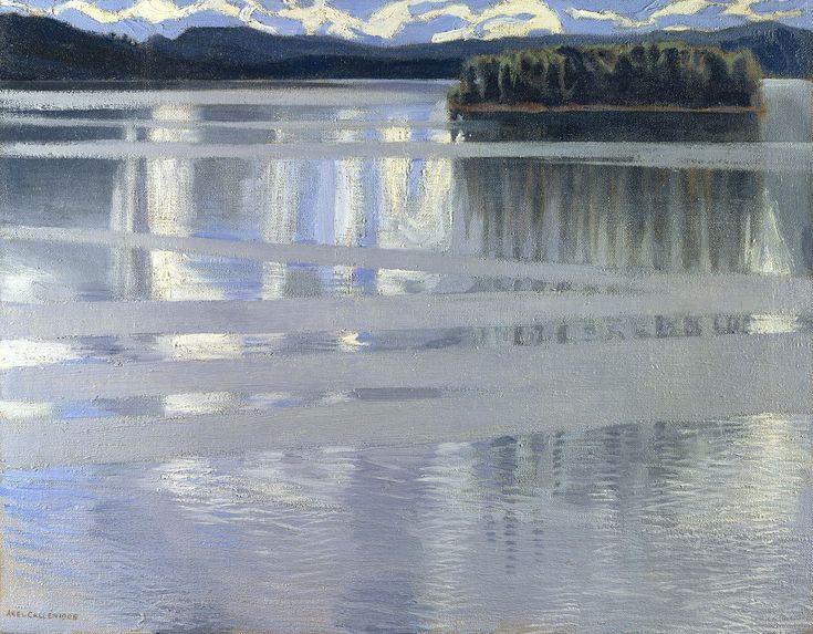 """1905. Akseli Gallen-Kallela. """"Het Keitele meer"""" Een impressionistisch, beklemmend beeld van de Finse architect-schilder."""