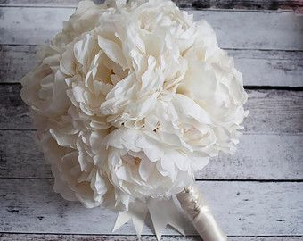Shabby Chic Wedding Bouquet  Peony Rose e ortensie avorio e