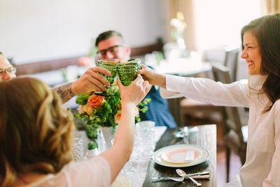 LOVELY & LOCAL- Southern Vintage green vintage wine glasses rent for your wedding or event- Photography of Haley Sheffield