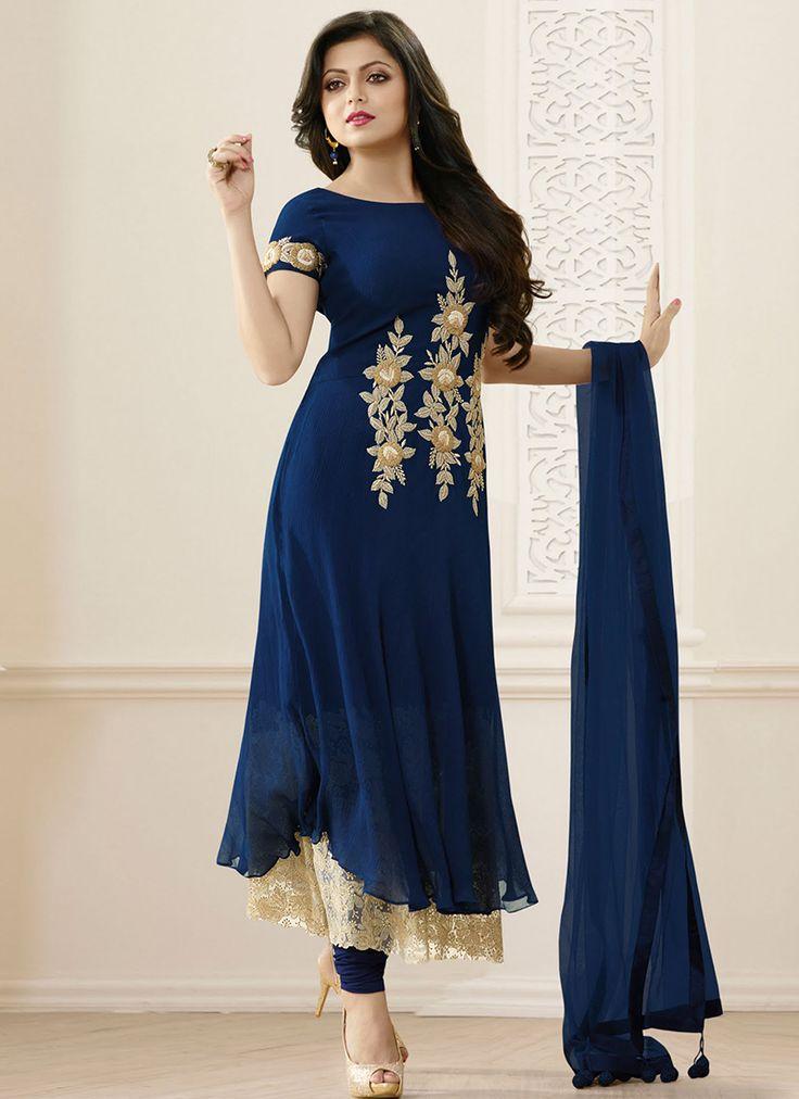 Blue Bulk Madhubala Designer Suit With Georgette Fabric
