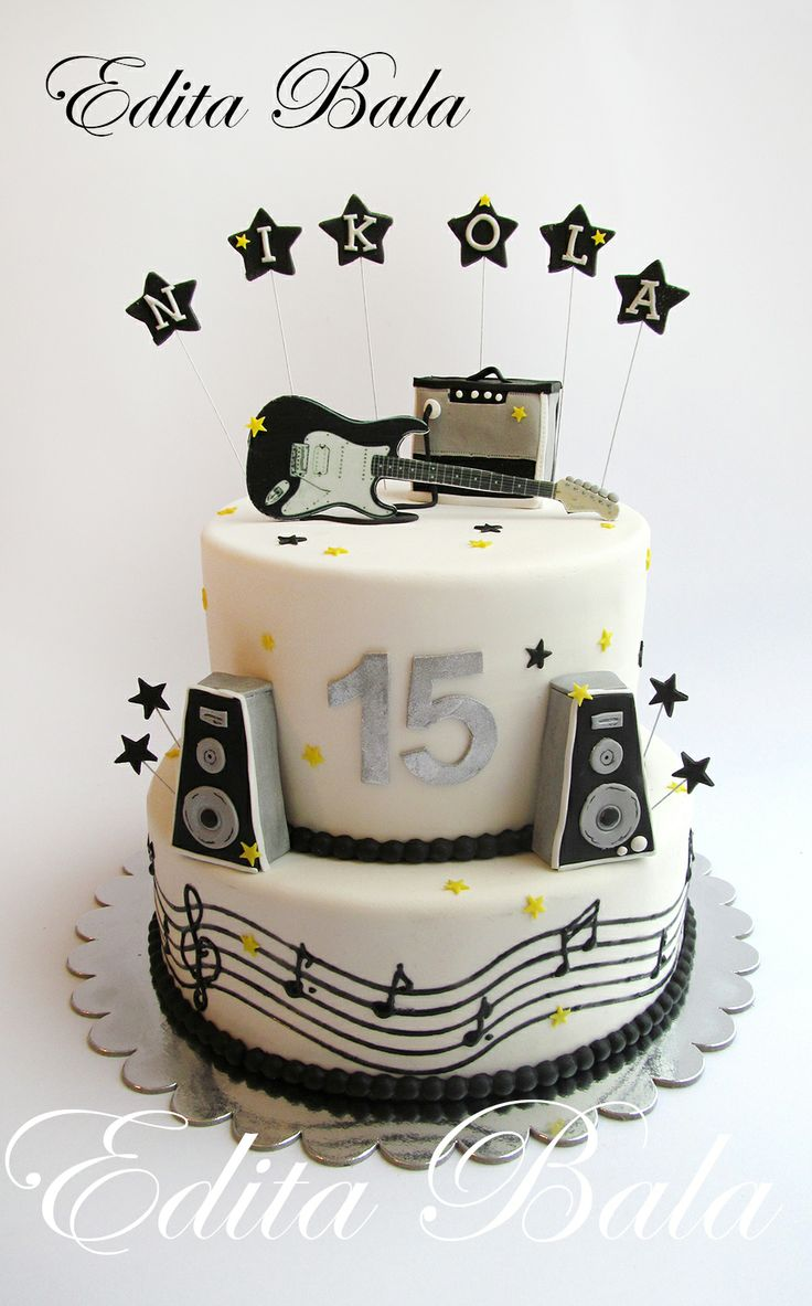 Music & gouitar themed cake