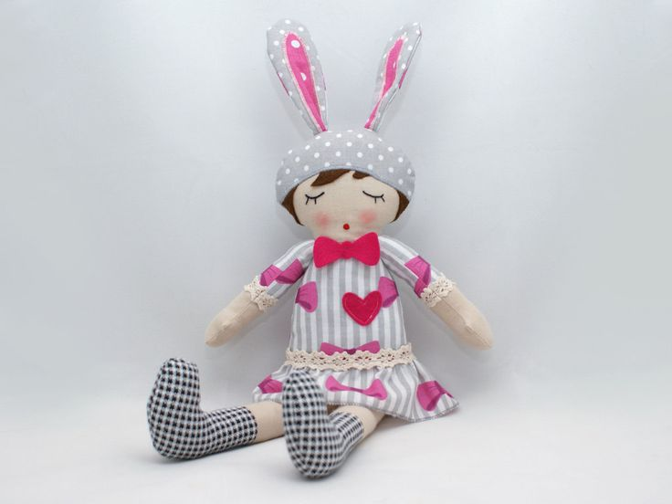 "Alicja - Rag doll, Soft doll, Sleepy doll, Handmade doll 18"" by PatchworkModa on Etsy"