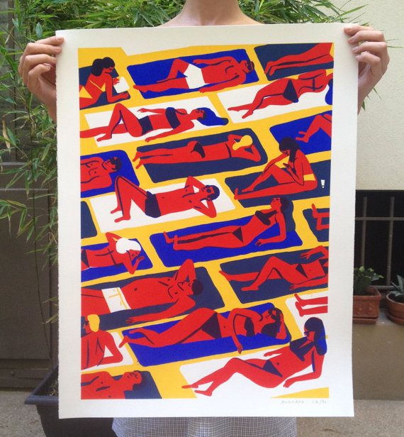 poster series crowd #01-La beach  creating original silk-screened by hand in limited edition  50 copies numbered, signed in pencil    3 colors: