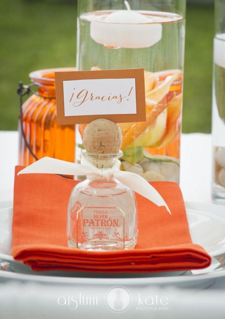 Mini Bottle Of Patron Wedding Favour Modern Orange And White Styled