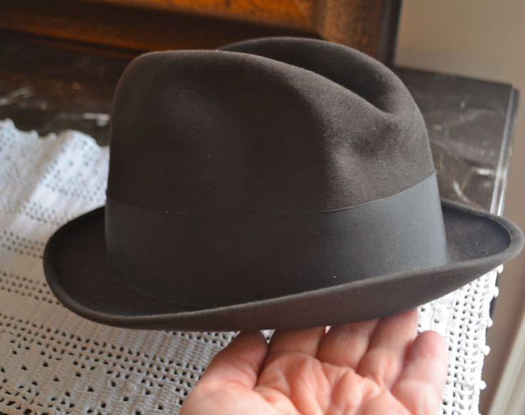 "FELT FEDORA  Biltmore Fedora ""Cavalier"" Short Brim Hat Brown Canadian Beaver Felted Fur Mens with Grosgrain Ribbon by StudioVintage on Etsy"