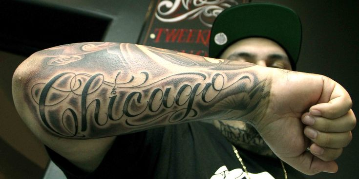 Chicago blackandgrey tattoo mistercartoon script ink for Chicago ink tattoo