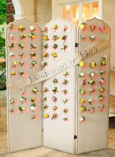 黄色のお花を飾って♪ <黄色・モダンな結婚式エスコートカード・席札まとめ一覧>