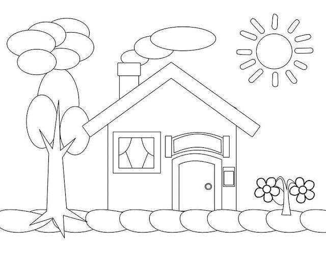 Aneka Gambar Mewarnai Mewarnai Gambar Rumah Untuk Anak Buku Mewarnai Warna Warna Sekolah