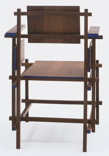 """Gerrit Rietveld Hoge Stoel Highback Chair 1919 Manufacturer G. A. Van de Groenekan, Amsterdam, The Netherlands Medium Stained and painted panga-panga wood Dimensions 36 1/8 x 23 5/8 x 23 5/8"""" (91.7 x 60 x 60 cm) At MOMA (Posted by FTapia)"""