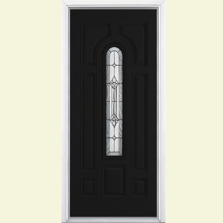 Masonite 36 in. x 80 in. Providence Center Arch Painted Smooth Fiberglass Prehung Front Door with Brickmold,