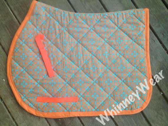 Turquoise and Orange Floral AP English Saddle Pad by WhinneyWear