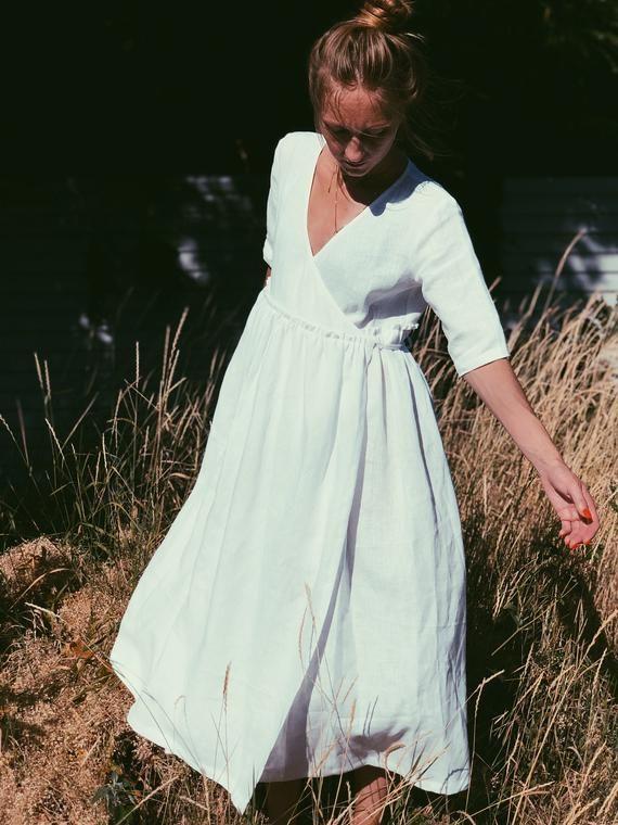 Linen Wrap Dress White Wrap Dress Linen Wedding Dress Boho Wedding Dress Linen Summer Dress Half Sleeve Dress Linen Midi Dress Wrap Dress Summer Linen Dresses Half Sleeve Dresses