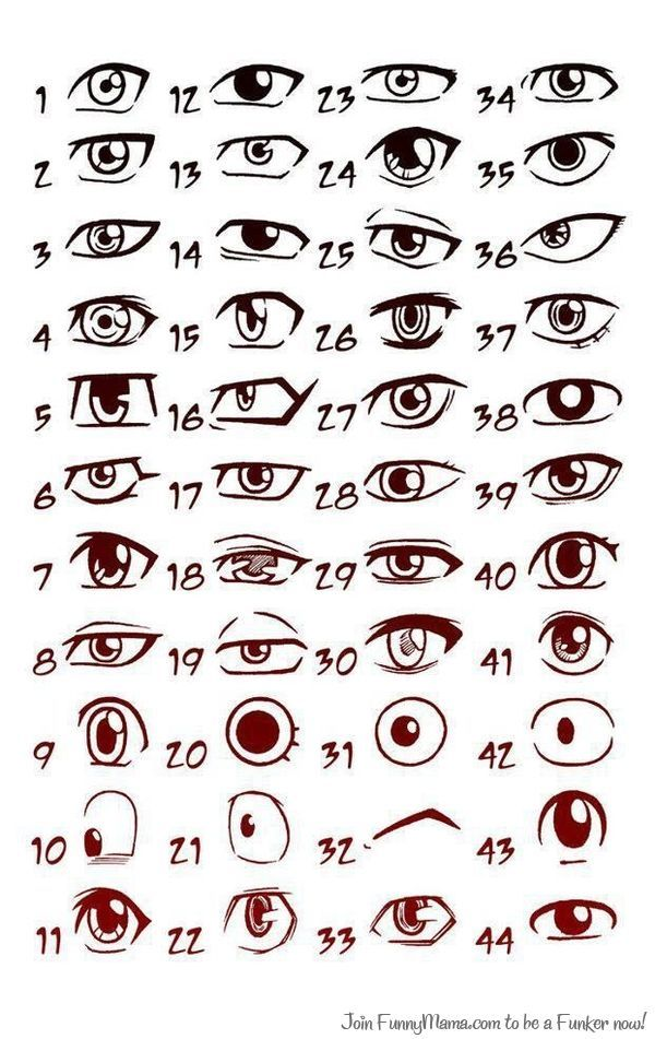 lots of different eyes good for sketching a rough draft of characters