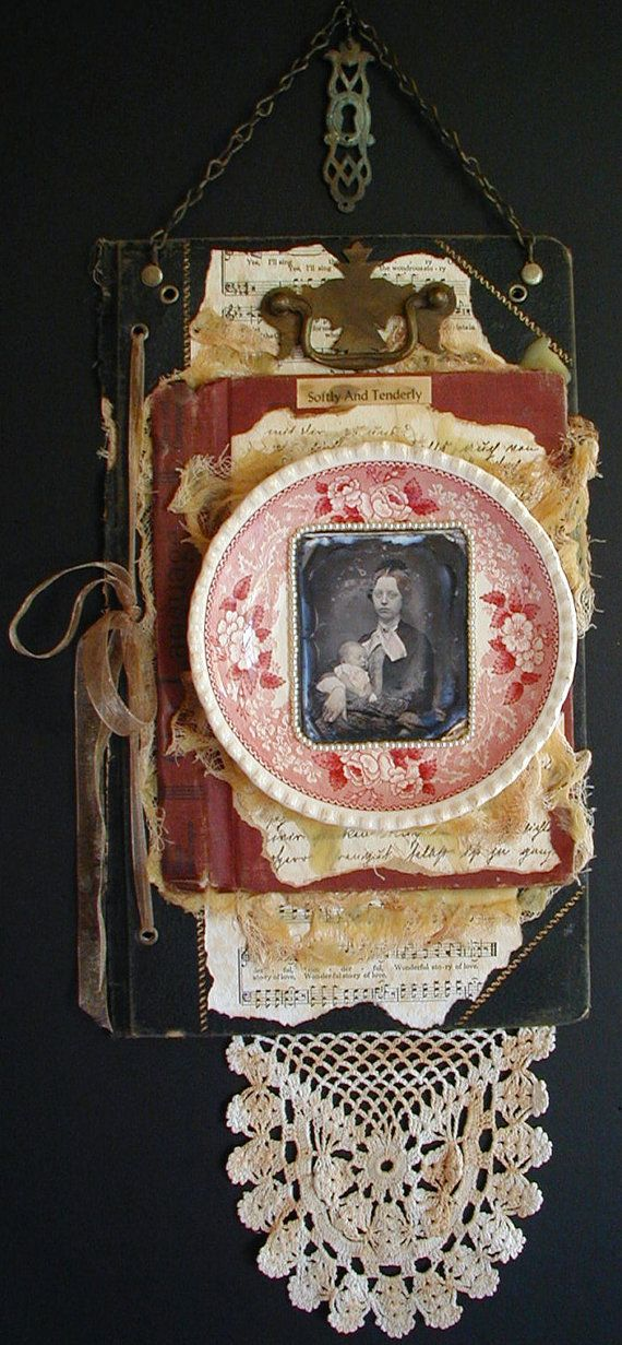 Mixed Media Wall Art Vintage materials Rose China Lace Pearls Tattered Journel Sheet Music