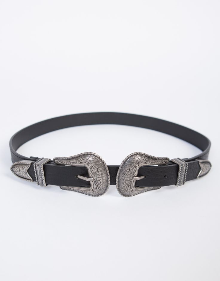This Skinny Double Buckled Western Belt is a must for your off-duty looks. This belt is a great statement piece for your day to night looks and even more perfect for a music festival this summer. Pair it with a high waisted skirt, cropped top, and wrap around sandals.