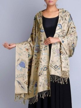 Beige Silk Pashmina Hand Embroidered Shawl