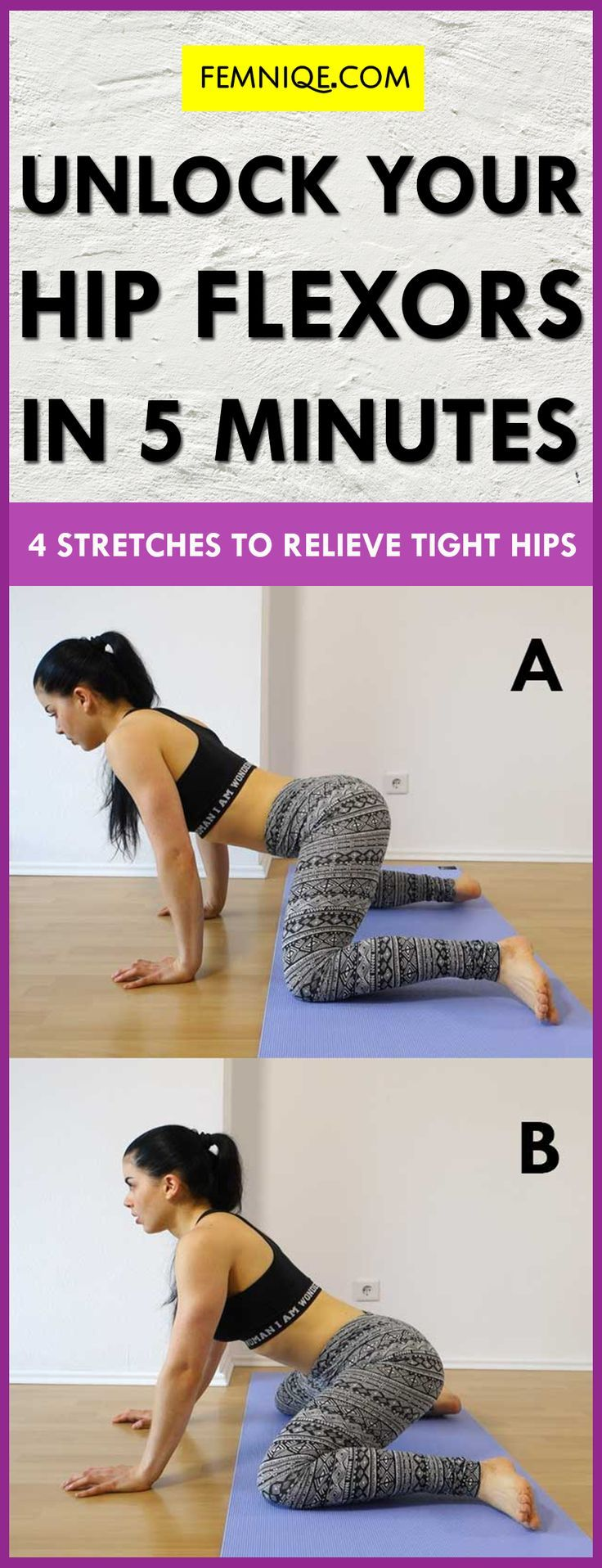 Hip Flexor Stretches: 5 Minutes to Relieve & Unlock Tight Hips (Best Guide) - Want to know how to stretch hip flexors the right way? this guide will show you step by step. Say no to tight hips! :)