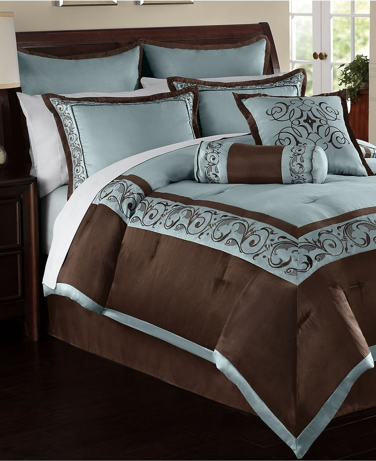 Elegant, Luxurious Blue And Brown Bedding. Looks Like A Luxury Hotel. Blue  And Brown Comforter Set. (this Is So Pretty And In My Fav Color Scheme.