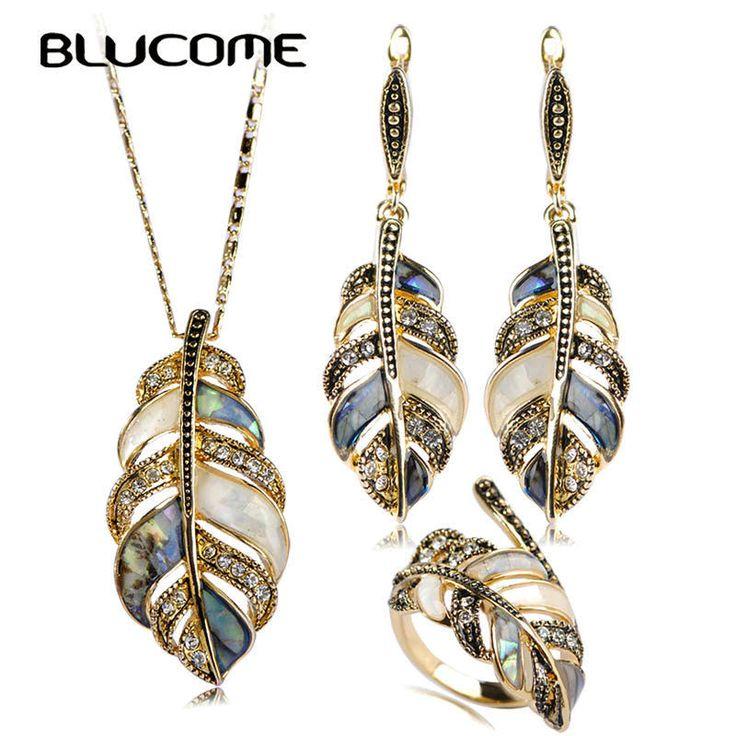 Blucome В виде ракушки со стразами винтаж листья Ювелирные наборы для женщин  #Blucome