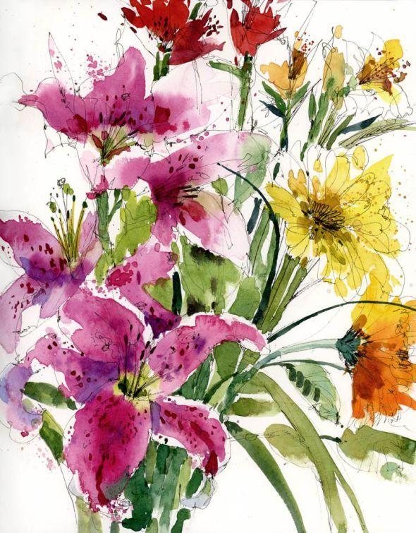 Акварель цветы открытка