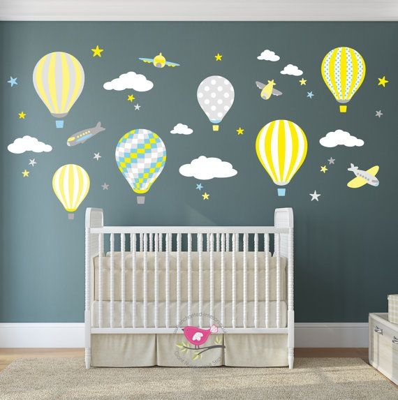 Hot Air Balloon Decal with planes, white clouds and stars. Yellow Grey & Teal Nursery Decor. Gender Neutral Wall Stickers. Toddler bedroom