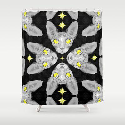 Sphynx Cat Black Pattern Shower Curtain by chobopop - $68.00