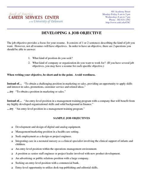 examples of resumes objectives