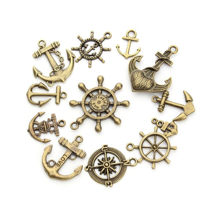Cast in antique gold aka antique brass in amazing Nautical theme charm lot. Each lot will have a mix of boat anchors, wheels and such worth of charms. There may be some duplicates sent, sorry, this wo