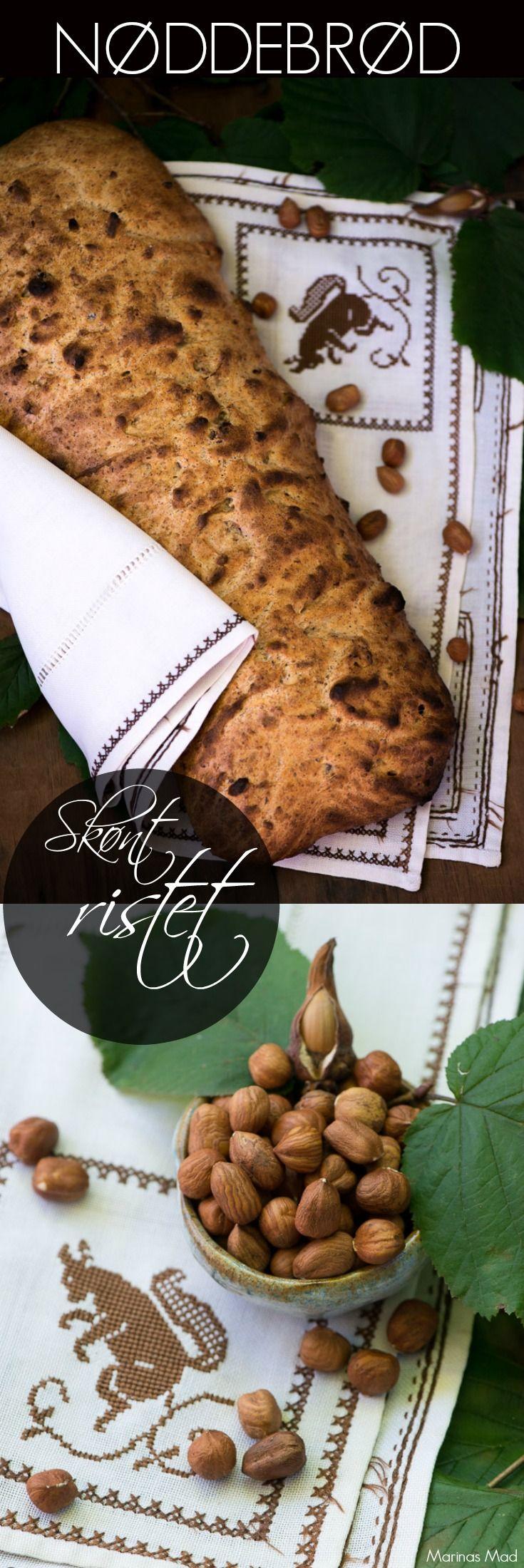 Opskrift på lækkert brød med hasselnødder. Dejligt friskbagt. Perfekt ristet i dagene efter. Opskrift fra Marinas Mad.