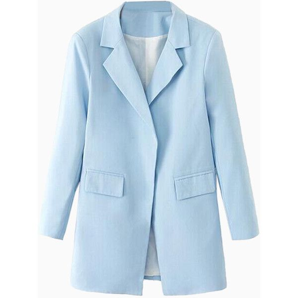 Lapel Pocket Longline Blazer in Pastel Blue ❤ liked on Polyvore featuring outerwear, jackets, blazers, lapel blazer, lapel jacket, long blazer jacket, blue blazers and pocket jacket