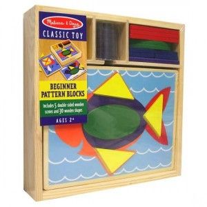 Melissa and Doug - Beginner Pattern Blocks: A perfect first manipulative! Five two-sided boards with ten recessed design templates are ready to fill with these brightly colored geometric shapes. Complete the pictures, or create your own designs and matching activities. Everything stores neatly in the sturdy wooden storage box. #alltotstreasures #melissaanddoug #beginnerpatternblocks #woodentoys #pattern #blocks